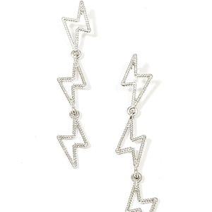 Lightning bolt silver dangle earrings